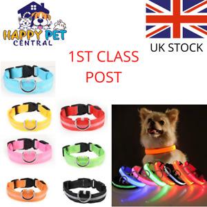 Adjustable LED Dog Collar USB Rechargeable Pet Safety Luminous Night Light Nylon