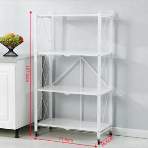 4 Tier Wheel Folding Storage Rack Shelving Office Unit Display Stand