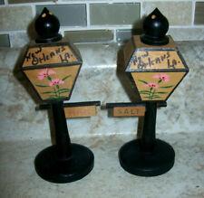 Vintage Wooden Salt Pepper Shaker Figural New Orleans Street lamps