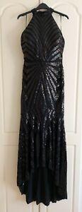 NEW LIPSY VIP Size 12 Black Stripe Sequin High Low Halter Neck Maxi Dress Prom
