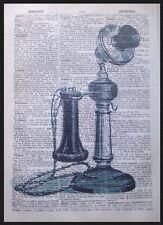 VINTAGE TELEFONO 1933 DIZIONARIO pagina WALL ART PICTURE telefono INDUSTRIALE Hipster