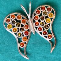Butterfly Amber, Green & Yellow  Stones Sterling Silver Brooch Pin 925