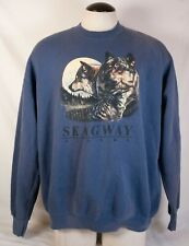 Skagway Alaska Outdoor SweatShirt Size XXL Blue Long Sleeve Wolf
