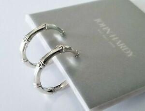 "John Hardy - Bamboo Collection Sterling Silver Hoop Earrings - 1 1/8"" - Mint!"