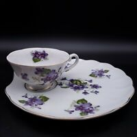 LEFTON China Violets Porcelain Snack Plate & Cup Set