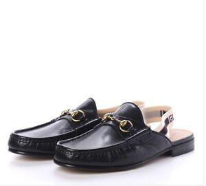 GUCCI 523406 Quentin Black Leather Horsebit Stripe Sling Back Loafer Shoe Sandal