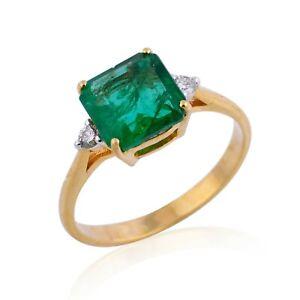 Real 2.05Ct. Emerald Gemstone Diamond Cocktail Ring 18k Yellow Gold Fine Jewelry