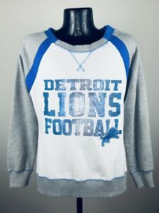Women's Detroit Lions Grey & White Counter IV Crew Fleece Sweatshirt NWT Small