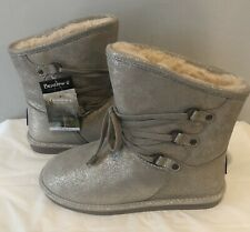 Bearpaw Women's Silver/Gold Shimmer Tie Boots Size 11 ~New With Tags~