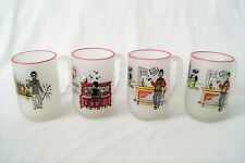 "Set of 4 Vintage Federal Glass Gay Fad ""Here's To� Frosted Beer Mugs Barware"