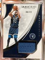 2018-19 Panini Immaculate Remarkable Game Worn Jersey Karl-Anthony Towns 40/49
