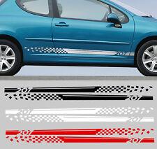 2 X BANDES POUR PEUGEOT 207 RALLYE 190cmX9cm AUTOCOLLANT STICKER AUTO BD565