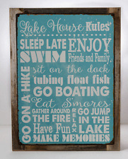 Lake House Rules Metal Sign Framed on Rustic Wood, Country Getaway, Family, Rule