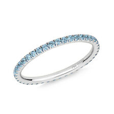 Blue Topaz Full Eternity Ring in 18ct White Gold UK SIZES J-O