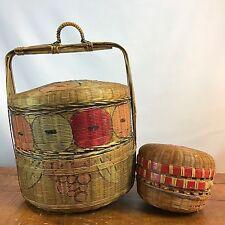 Vintage Antique Asian Chinese Rattan Bamboo Wedding / Sewing Basket Stacking