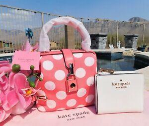 🌸 Kate Spade Remedy Bikini Dot Small Top-handle Bag Pink White NEW $258 🌸