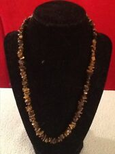 Vintage Jewelry: Polished Chips, Tiger Eye Gemstone Necklace Silver Clasp 20""