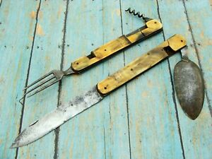 BIG ANTIQUE FRENCH ITALIAN HORN HOBO SLOT FOLDING POCKET KNIFE FORK SPOON KNIVES