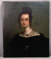Ca.1840 Antique 19thC Old Antebellum Era Lady in Black Jewels Portrait Painting