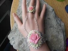 PINK ROSE ON TAN CAMEO RING & ATTACHED SILVER FILIGREE BRACELET WITH CHAINS