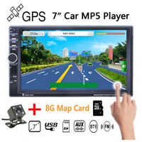 "Bluetooth GPS MP5 Player 7"" HD 2DIN Car Radio Stereo  Touch TF/AUX/FM/USB Remote"