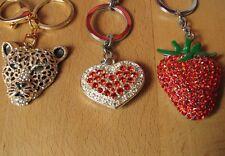 3 sparkly bling gemstone keyring/keychains Leopard,heart strawberry + free owl!