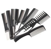 Hairdressing Comb Set Hair Styling Pro Kit Professional Barber Salon 10Pcs Black