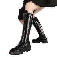 Women's Zipper Mid-calf Boots Round Toe Chunky Heel Patent Leather Punk Shoes L