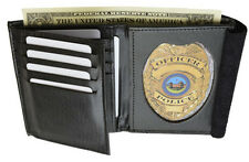 Badge Shield Concealed Holder Wallet BLACK Leather Fire Security ID Card Shield