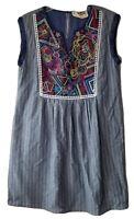 Savanna Jane Shift Dress Blue White Striped Size Small Embroidered Sleeveless