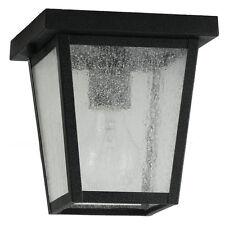 Feiss Outdoor Ceiling Light Black Lantern Glass Deck Porch Roof Lamp Fixture NEW