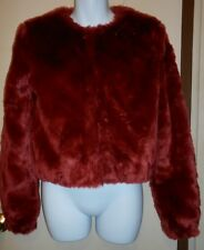 Kardashian Kollection Ladies Faux Fur Jacket Crimson XS NWT