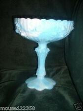 Fenton Blue and White Slag Glass Pedestal Compote