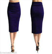 Womens Plain Wear to WORK Slim Shift Pencil Midi Long Maxi SKIRTS DRESS Blue (S)
