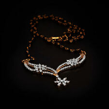 Stunning 1.35 Cts Round Brilliant Cut Diamonds Mangalsutra Necklace In 14K Gold