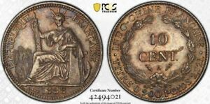 French Indo-China 1888-A 10 Cents Centimes PCGS AU55 Scarce Date