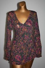 ERGE DESIGNS Gray Print Ruched Slub L/S Jersey Knit T-Shirt Top Size Small S