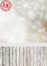 CHRISTMAS WHITE GOLD SHIMMER LIGHTS BACKDROP VINYL PHOTO PROP 5X7FT 150X220CM