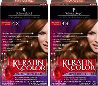 PACK OF TWO Schwarzkopf Keratin Anti-Age Hair Color Kit, Red Velvet Brown 4.3