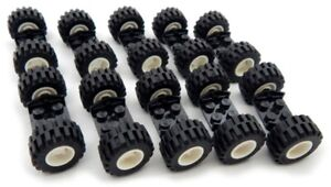 10 SETS of LEGO WHEELS (20 tires/10 axles) race car truck lot vehicle city town