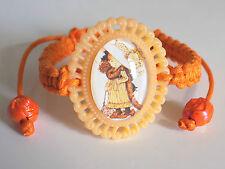 No Metal Orange Sarah Kay Glass Cabochon Resin Pendant Shamballa Style Bracelet
