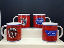 Ford Motor Co Emblem Mugs Set of 4 Red White and Blue Ceramic 12 Oz Cups