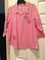 Isaac's Design...Button Down Blouse... PINK/WHITE PINSTRIPE LAS OLAS TOP SzXL!!!