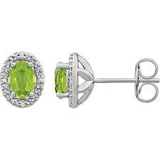 ORIGINAL Peridoto & Diamante Pendientes plata de ley 925