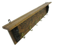 Hand Carved Wood  Wall Shelf Coat Hat Kitchen Rack Lion Heads Two Toned Gorgeous