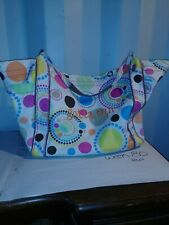 """Thirty-One multi-color polka dot Large tote bag. Embroidered with """"gotta run"""""""