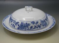 ANTIQUE NIPPON ROYAL SOMETUKE CHEESE OR MEAT COVERED DISH BLUE WHITE