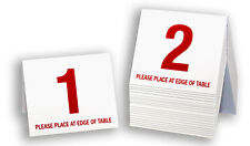 Plastic Table Numbers 1-20, Tent Style, White w/ Red Number, Free shipping
