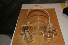VTG UNIQUE GLASS ICE BUCKET & MATCHING CREAM & SUGAR... WICKER HANDLES