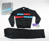 NOS Vtg 80s Adidas Run DMC Spell Out Track Suit Jacket Pants Black Mens Small